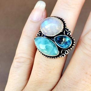 Rainbow Moonstone, Larimar, Blue Topaz Silver Ring